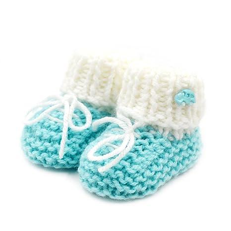 Zapatillas para bebé recién nacido, hechas a mano, diseño de ganchillo, color verde