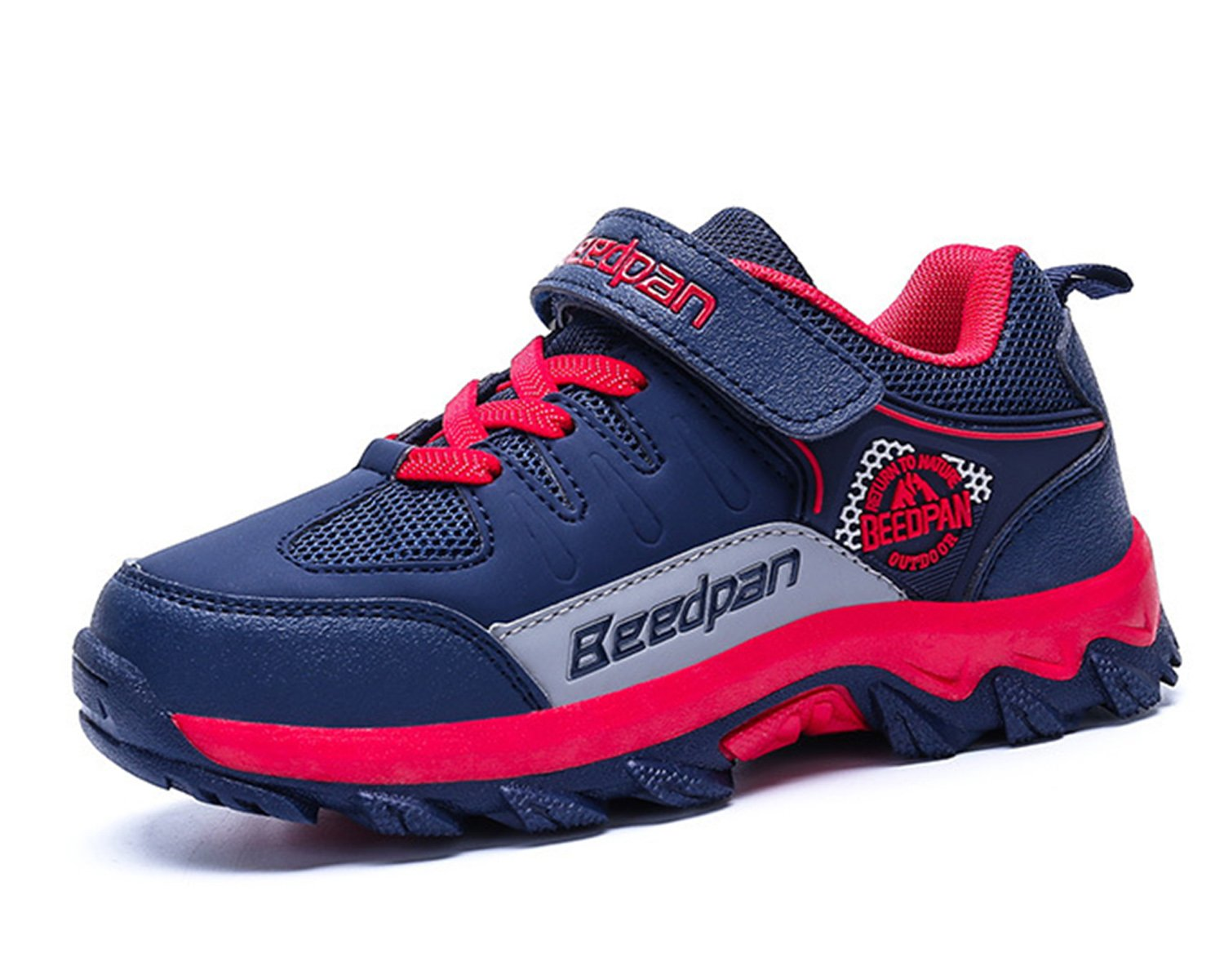 Jabasic Kids Hiking Shoes Outdoor Adventure Athletic Sneakers(2,Navy/Red)