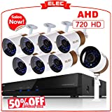 ELEC 8CH Channel 1080N AHD HDMI DVR 720P 2000TVL Home CCTV Video Security Camera System , 8 Indoor/Outdoor 1.3MP Cameras IR-CUT Night Vision ,NO Hard Drive