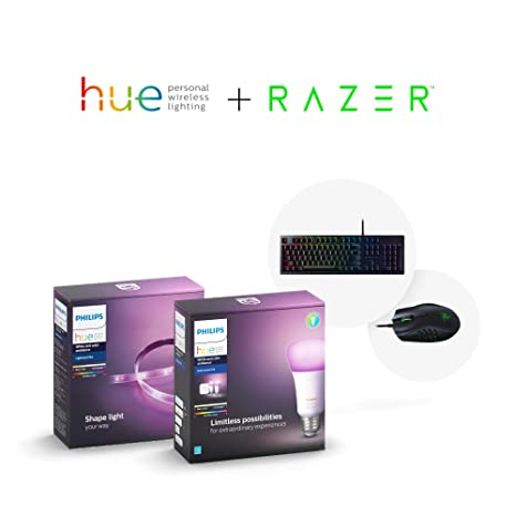 Philips Hue Smart Light Bulb Exclusive Starter Kit and Dimmable Smart Light  Strip with Razer Huntsman-Opto-Mechanical Gaming Keyboard and Naga Trinity