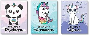 Brooke & Vine Unicorn Rainbow Panda Mermaid Cat Girls Room Wall Decor Art Prints - (UNFRAMED 8 x 10) Kids, Toddler Inspirational Posters for Nursery, Bathroom, Bedroom (Caticorn)