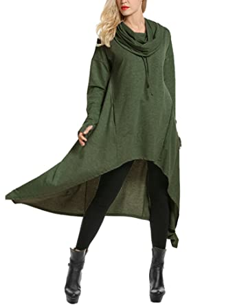 429d5db4 Zeagoo Womens High Low String Hoodie Tunic Sweatshirts with Pocket,Olive  Green,Small