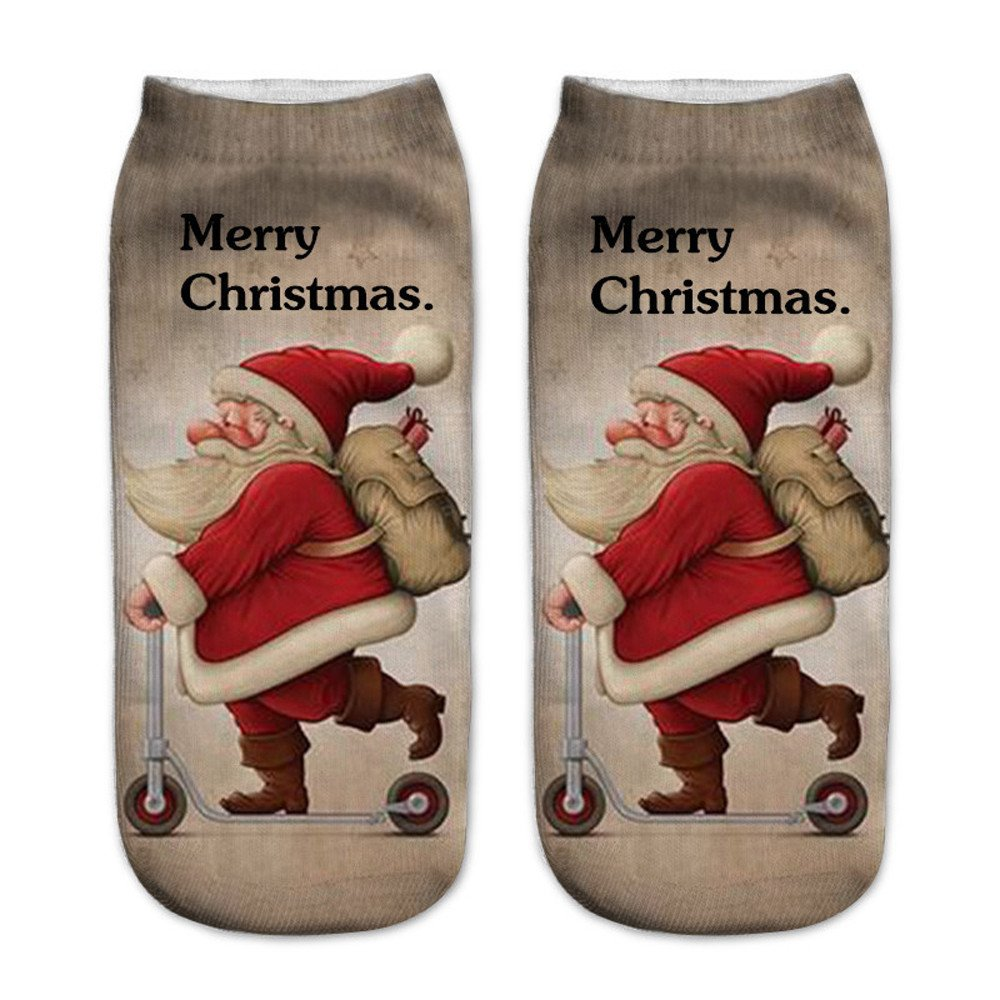 Charberry Clearance Unisex Santa Claus 3D Printed Christmas Casual Socks Low Cut Ankle Socks (C)
