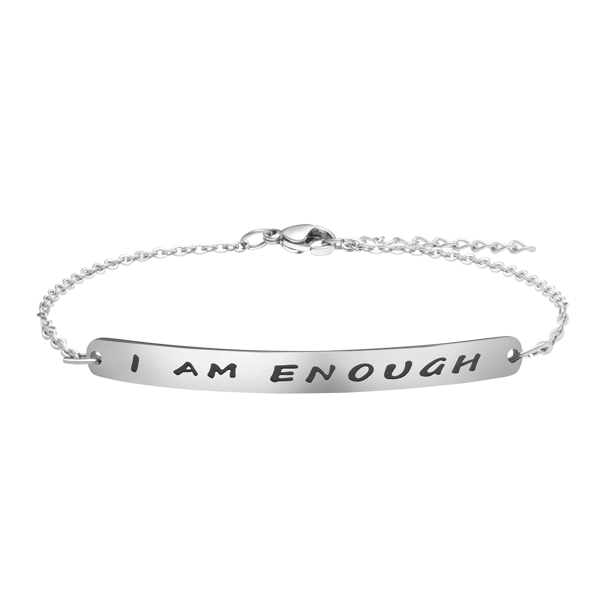 Joycuff Identification Bracelets for Her Encouragement Jewelry Christmas Birthday Gift Stainless Steel Chain I Am Enough Bracelet