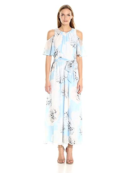 Calvin Klein Women S Printed Maxi Dress Flutter Sleeve