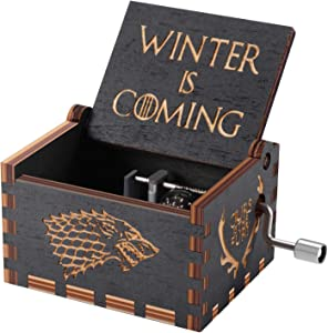 Game of thrones Wood Muisc Box,Hand Crank Antique Carved Wooden Musical Boxes Best Gift for Birthday Christma (Black)