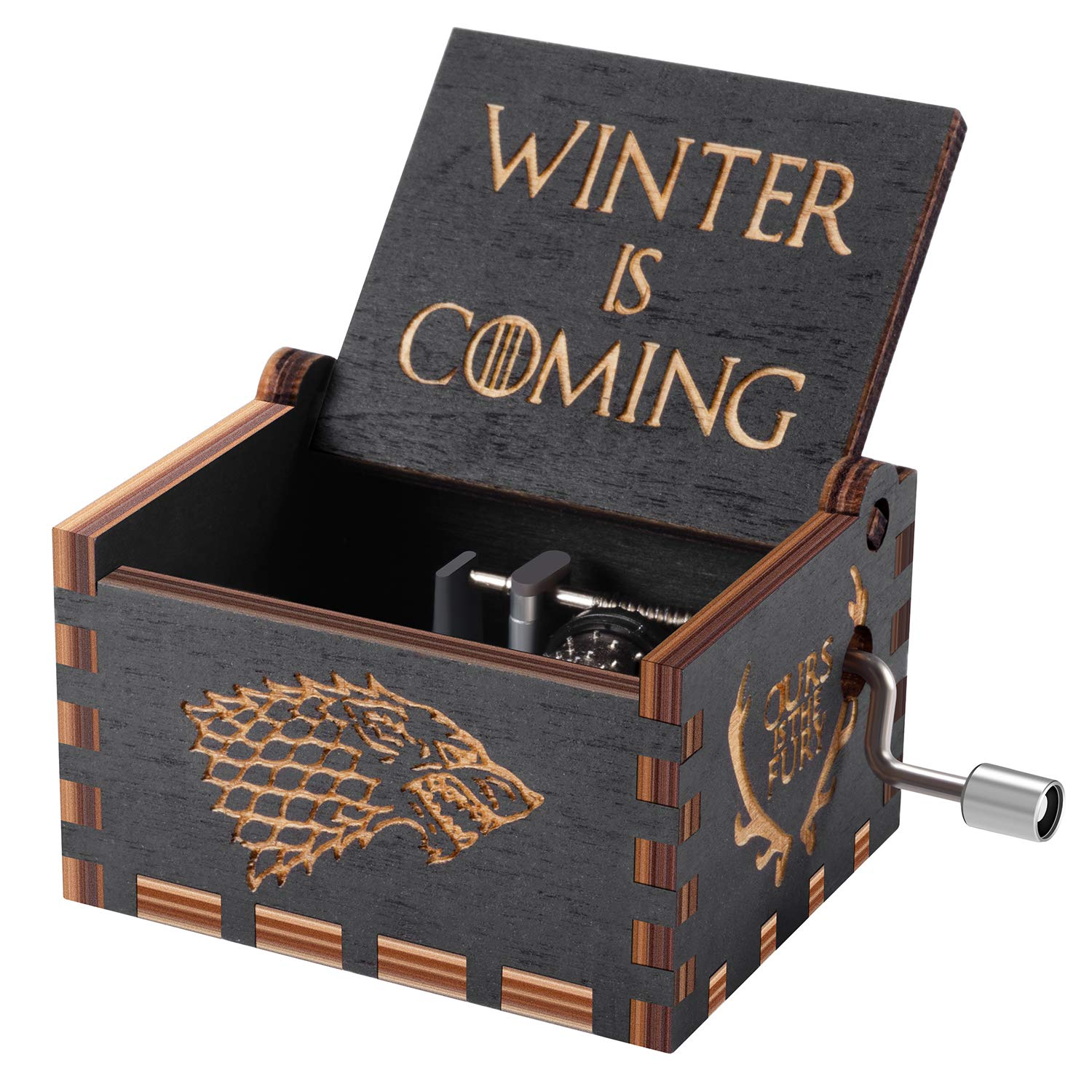 Huntmic Game of Thrones Wood Muisc Box,Hand Crank Antique Carved Wooden Musical Boxes Best Gift for Birthday Christma (Black) by Huntmic