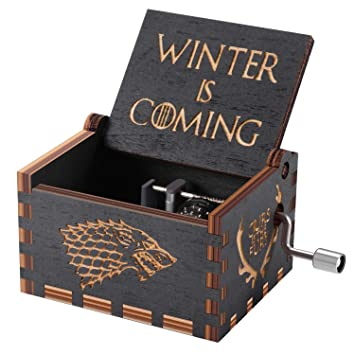 Huntmic Game of Thrones Wood Muisc Box,Hand Crank Antique Carved Wooden Musical Boxes Best