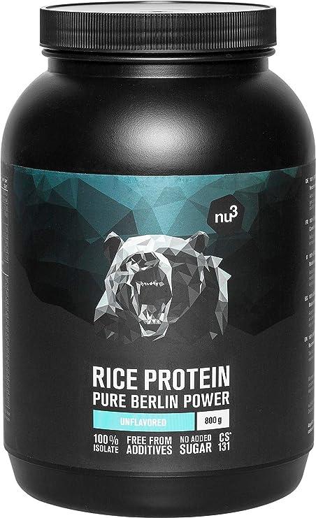 nu3 Proteína de arroz | 800g de fórmula sabor neutral | 80% (24g) de proteína vegetal | Polvo para batido proteico sin lactosa y libre de gluten | Sin ...