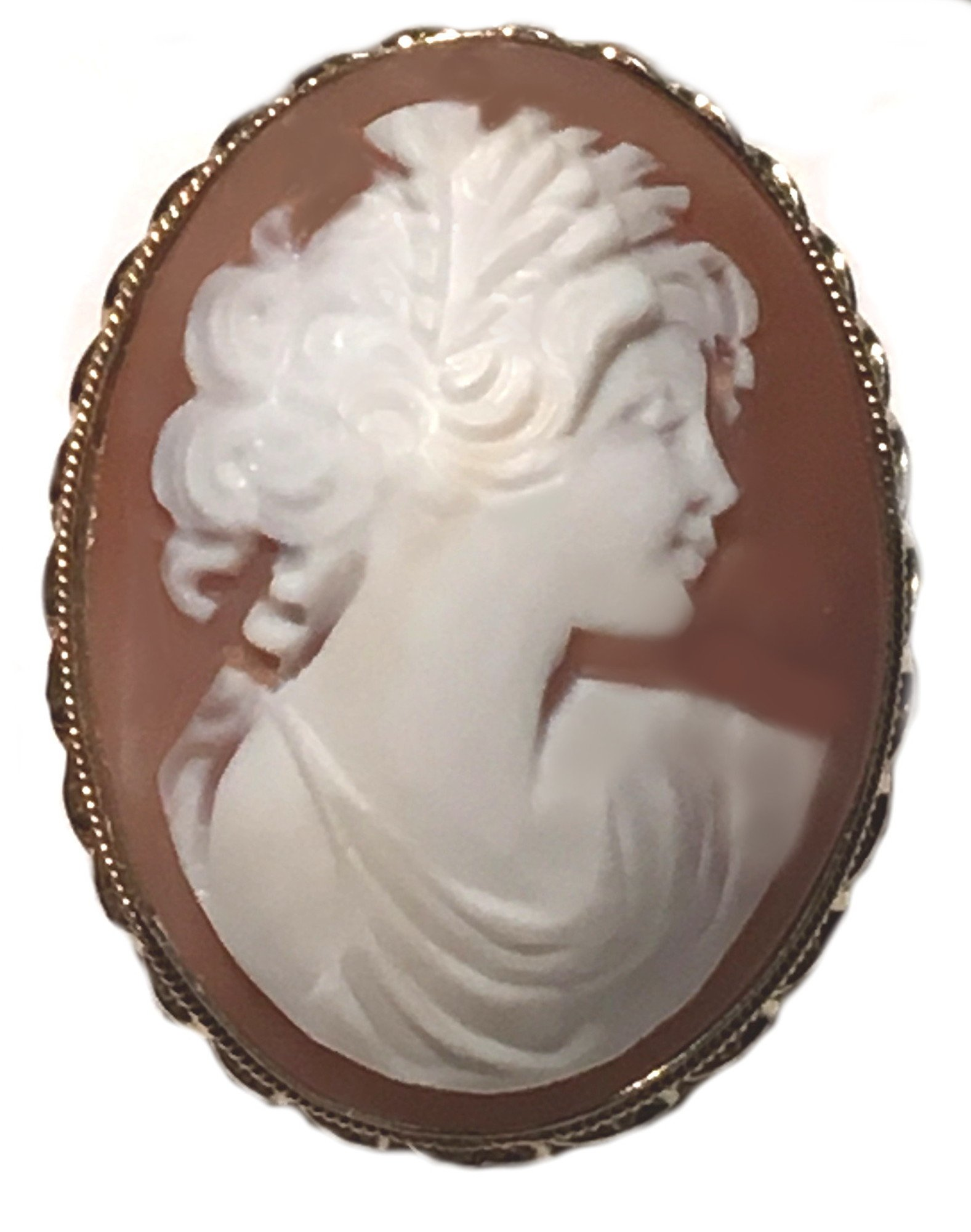 Cameo Broach Pendant Autumn Love Master Carved Sardonyx Shell Sterling Silver, 18k Yellow Gold Overlay, Italian One of a Kind