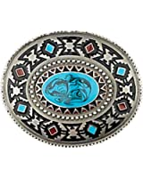 Western Express Pewter Southwest Belt Buckle with Blue Center Stone