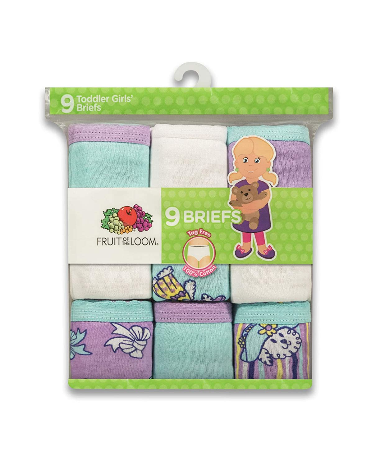 Fruit of the Loom Toddler Girls 9-Pack Assorted Briefs