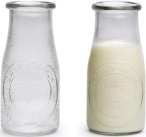 Circleware martillado cristal leche botellas/potable gafas, 16 onzas, juego de 6