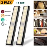 Wireless Motion Sensor Cabinet Light Drawer Closet Lights,USB Rechargeable 10 LED Cabinet Lighting,Magnetic Removable Stick-On Anywhere for Wardrobe/Stairs/Closet/Drawer, Warm White, 2 Pack