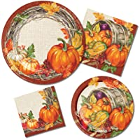 Thanksgiving Paper Plates and Napkins Set - 64 Total Pieces Including 32 Plates and 32 Napkins (4 Different Sizes) Featuring Plentiful Harvest Theme