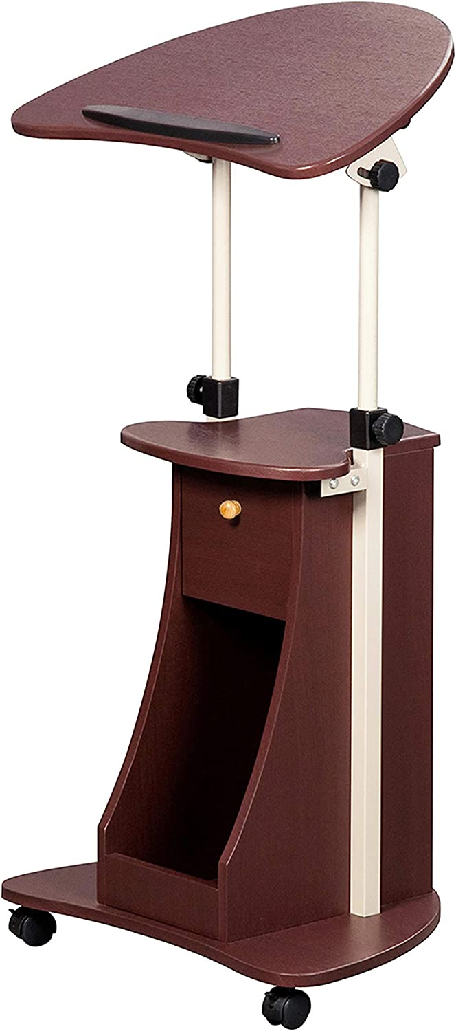 Height Adjustable Laptop Cart With Swivel Top And Storage. Color: Chocolate
