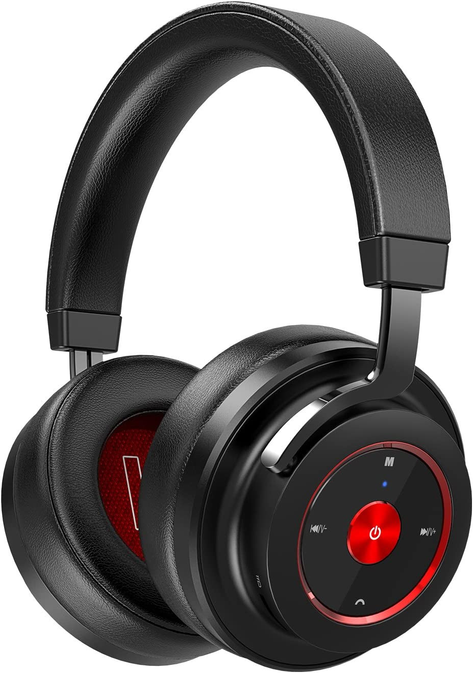 SADES Bluetooth Over-Ear Headphones Wireless Stereo Headset with Mic Hi-fi Sound Bluetooth 4.1 Low Latency for Mobile Phones/TV/Mac/PC(Black-Red)