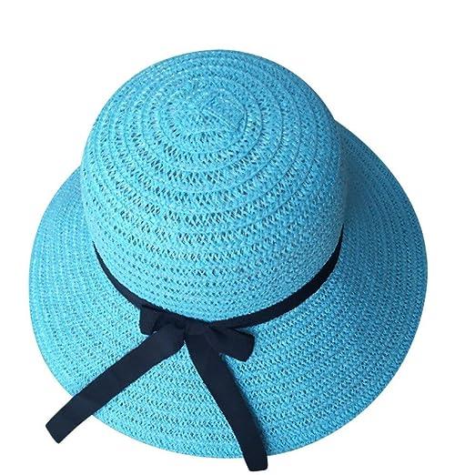 Molyveva Lady Casual Foldable Hat Women Straw Summer Beach Wide Brim ... 4dc72f73c