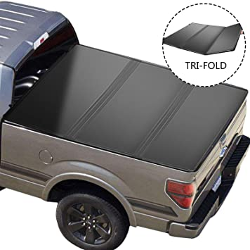 Amazon Com Vevor Truck Bed Cover Tonneau Cover For Ford F150 Tri Fold Auto Truck Bed Tonneau Cover Pickup Truck Bed Accessories Hard Truck Topper Fits 2009 2020 Ford F 150 Styleside 5 5ft Bed Automotive
