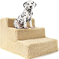 Gluckluz Dog Stairs 3 Steps Pet Stair Ramp Cat Ladder Stepper with Removable Plush Cover for High Bed Tall Couch Chair…