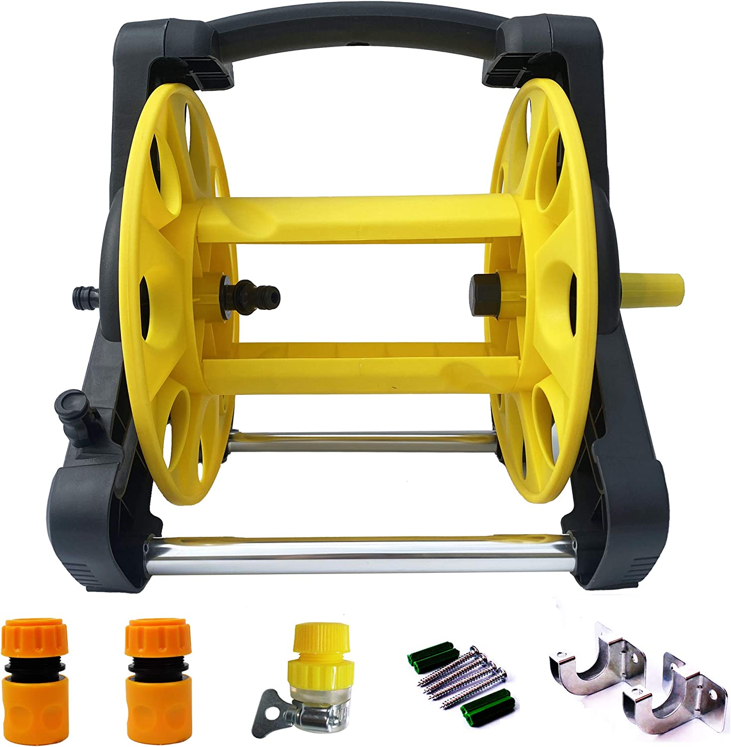 Mobile Garden Hose Reel Rack Hose Storage Rack Cart Stand for 65 Feet 1/2 Inch Hose and 50Feet 5/8in Hose Household Gardening and Cleaning .2 pcs quick hose connector,1pcs tap connector,2pcswall hooks