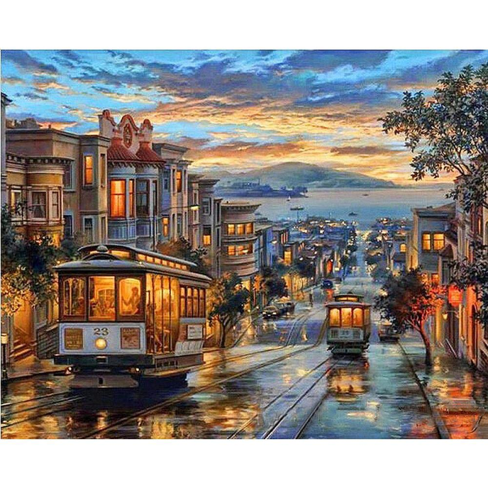 One Hundred and Seventy-Four WMIND Manual Graphic DIY Oil Painting no Inner Frame 16x20inch Digital Painting kit in The Evening Acrylic Painting Suitable for Beginners
