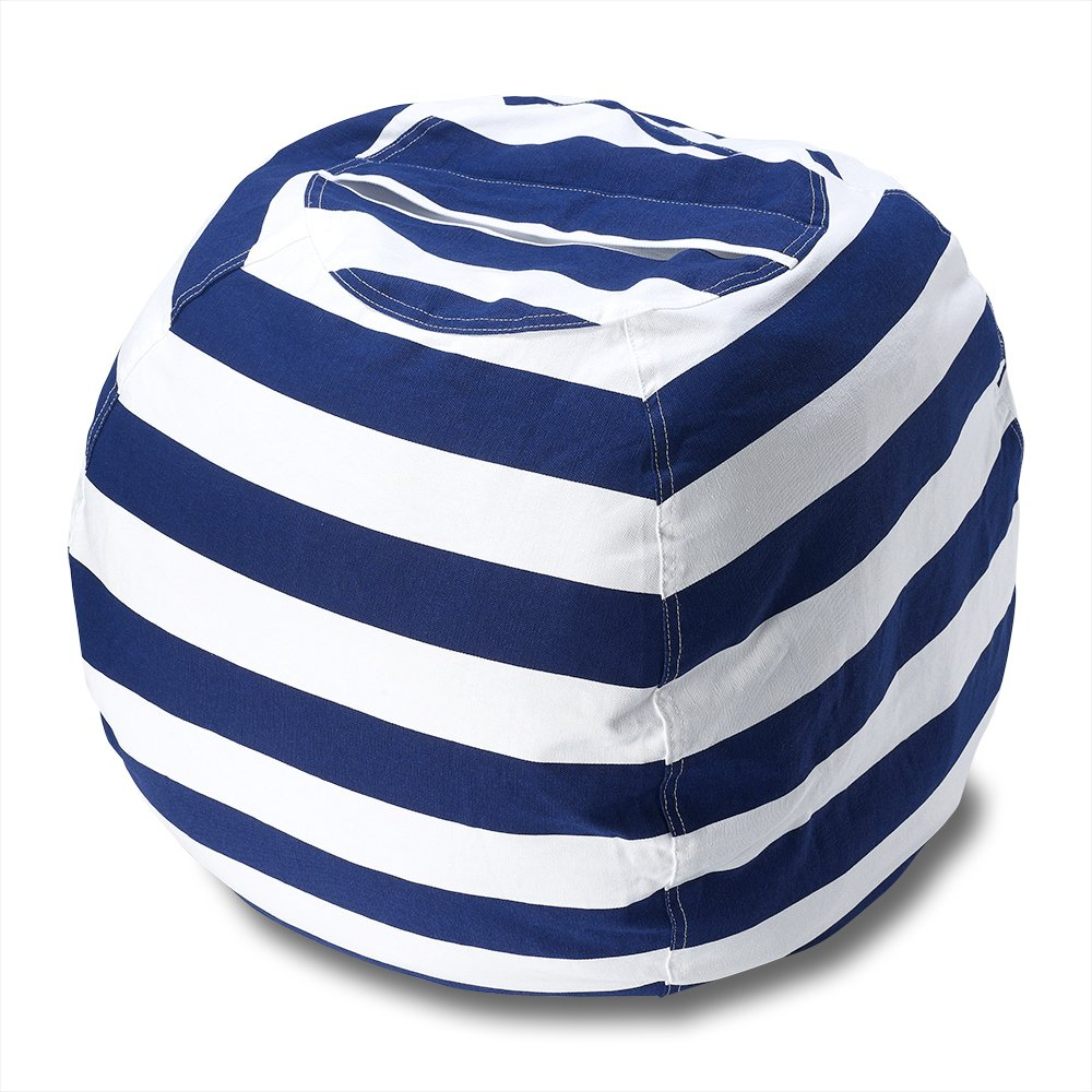 Stuffed Animal Storage Bean Bag Chair/Finest Storage Hammock & Organizer for kids' Plush Toys/Premium Stripe Print Canvas Toy Storage Bag perfect Storage Solution for Blankets Pillows Clothes (2 pcs)