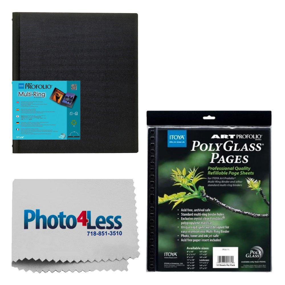 Itoya Art Portfolio Multi-Ring Refillable Binder (13 x 19'') RB1319 + Itoya Art Portfolio Polyglass Refill Pages 13x19 + Photo4Less Cleaning Cloth + Deluxe Presentation Bundle by PHOTO4LESS
