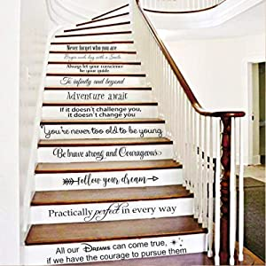 """BATTOO Stairway Decals Die Cut Inspirational Quotes Vinyl Wall Sticker for Stairs Staircase Decor Set 11 Family Decor Home Art Housewarming Gift up to 28"""" Wide and 4"""" Tall"""