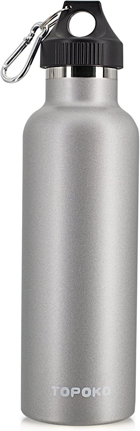 TOPOKO Colored Non-Rusty Stainless Steel Vacuum Water Bottle Double Wall Insulated Thermos, Sports Hike Travel, Leak Proof, BPA Free, 25 oz, Grey