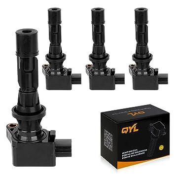 QYL Pack de 4 bobina de encendido para 2006-2012 Mazda 3 6 CX-7 MX-5 2.0L 2.3L 2.5L L4 uf-540 C1683 uf540: Amazon.es: Coche y moto