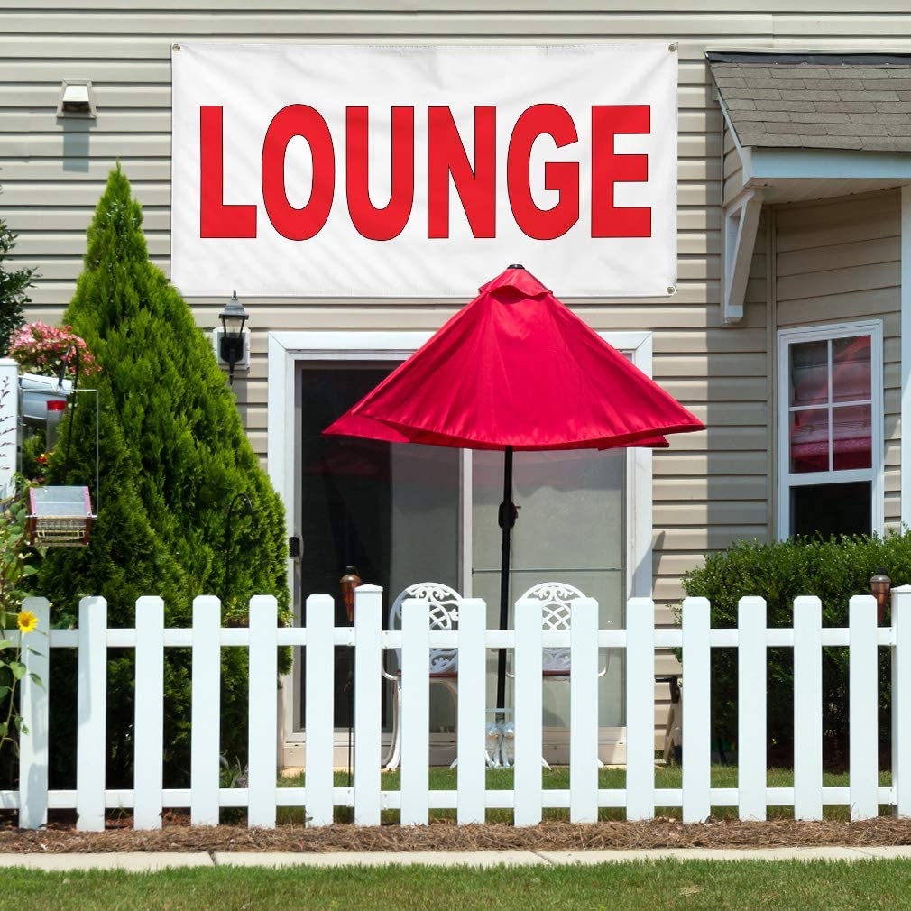 Vinyl Banner Multiple Sizes Lounge Red Business Outdoor Weatherproof Industrial Yard Signs 10 Grommets 60x144Inches