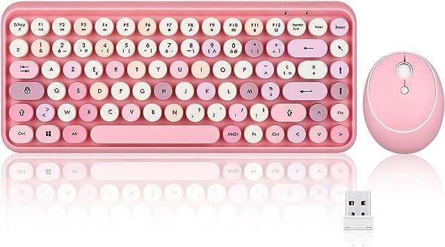 Perixx PERIDUO-713 - Juego de mini teclado y ratón inalámbrico 2,4 GHz, teclas de estilo retro redondas, rosa pastel