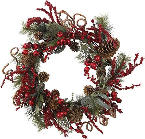 Nearly Natural 4838 Assorted Berry Wreath 24 Inch Red Home Kitchen Amazon Com