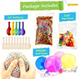 Water Beads Pack (30000 Small water beads /150 Large Jumbo water beads/10 Balloons) Mixed Jelly Beads Water Gel BallsSensory Toys and Decoration