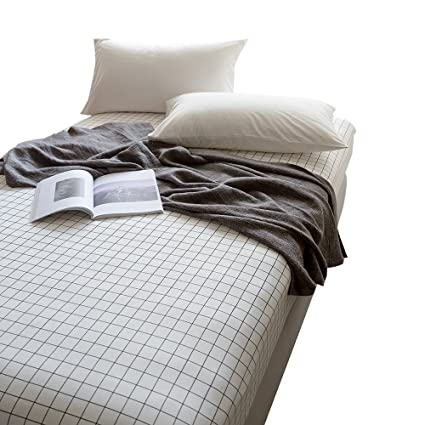 ORoa 100% Cotton Black White Grid Sheets Children Fitted Sheets Soft Single  Deep Plaid Fitted