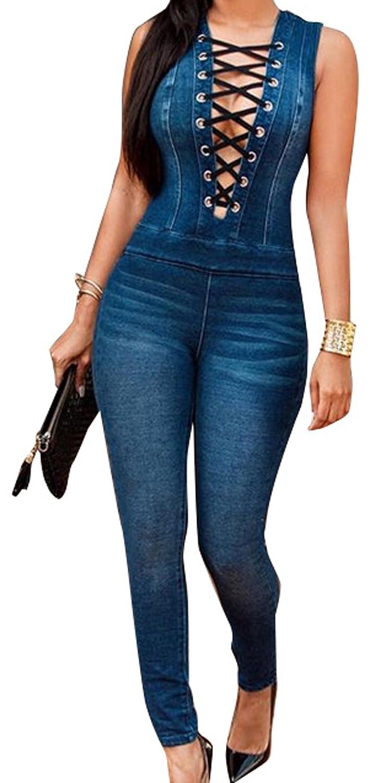 TALLA S. Nuevo Caliente Vaqueros de Mujeres Slim Rompers Bodysuit Pantalones Jeans Monos Pantalones Jumpsuits para Fiestas de Cóctel