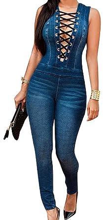 Nuevo Caliente Vaqueros de Mujeres Slim Rompers Bodysuit Pantalones Jeans Monos Pantalones Jumpsuits para Fiestas de Cóctel