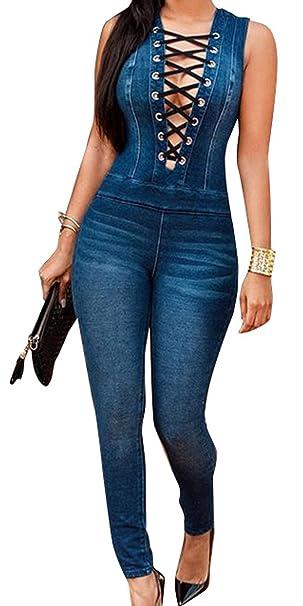 Nuevo Caliente Vaqueros de Mujeres Slim Rompers Bodysuit Pantalones Jeans Monos Pantalones Jumpsuits Para Fiestas de