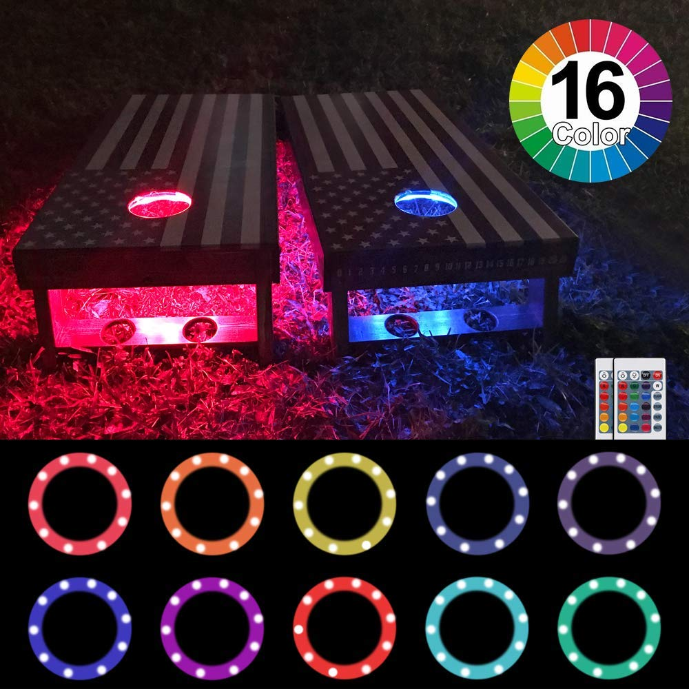 Heartbeats Cornhole Lights, LED Ring kit,16 Colors Multicolor Changing Type,Remote Control, Set of 2 pcs, Board Hole Lights, Toss Bean Bag Game Lights Backyard Board Game Lights,Tailgate Game, by heartbeats