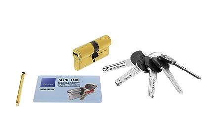 Tesa Assa Abloy, TX853040L, Cilindro de Alta Seguridad, TX80, Doble Embrague ,