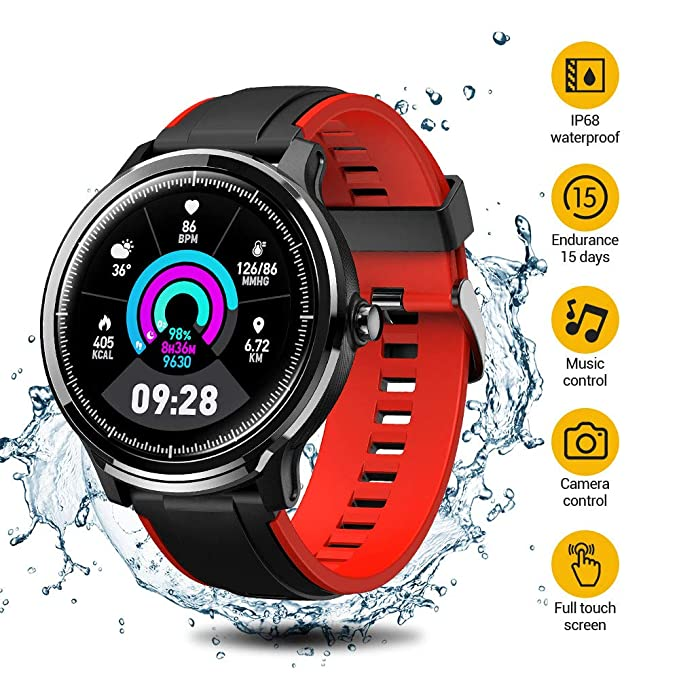 Smart Watch,Fitness Activity Tracker with 5ATM Waterproof,Bluetooth Smartwatchs 1.3inch Full Touch Screen for Men Women in Sports Sleeping Monitor,iOS Android Phone,15 Days Battery Life(Two straps)