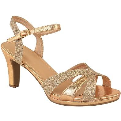 fb91ff43b461 Fashion Thirsty Womens Ladies Mid Block Heel Strappy Sandals Wedding  Glitter Bridal Party Size