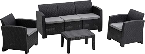 MCombo 6pcs Patio Furniture Set All-Weather Outdoor Sectional Sofa Rattan Pattern Patio Conversation Set w/Seat Cushions 6050-800 Grey