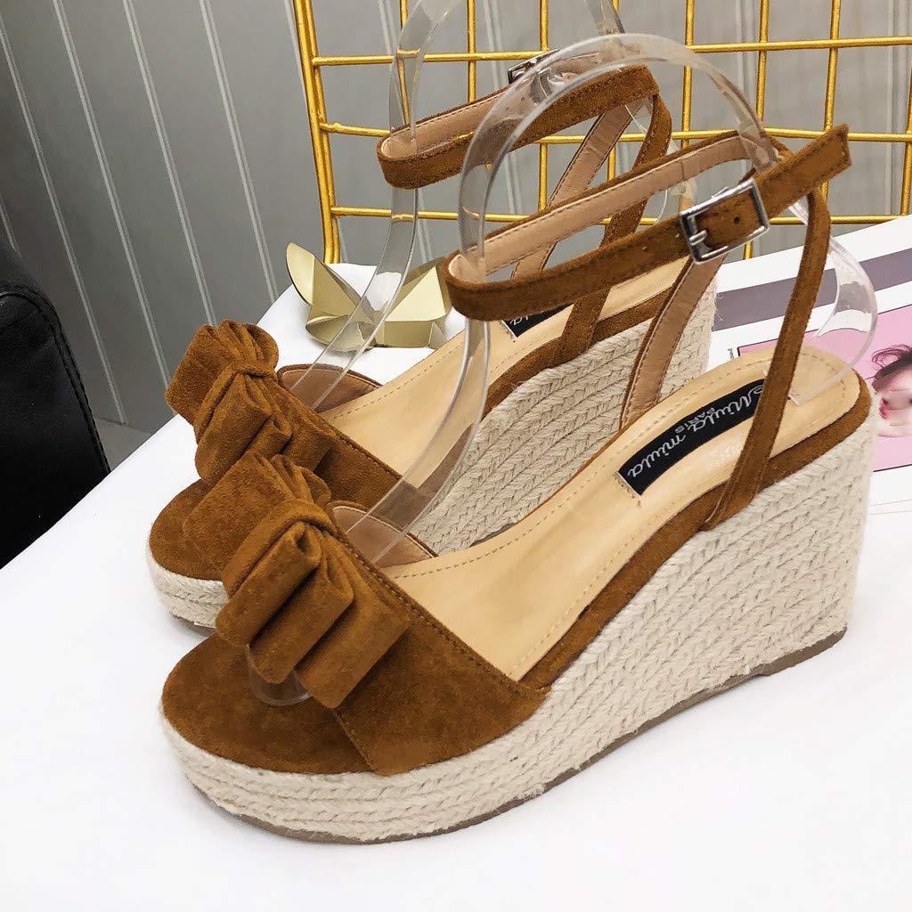 Girls Women Summer Fashion Wedges Sandals Ladies Fish Mouth Belt Buckle Beach Shoes