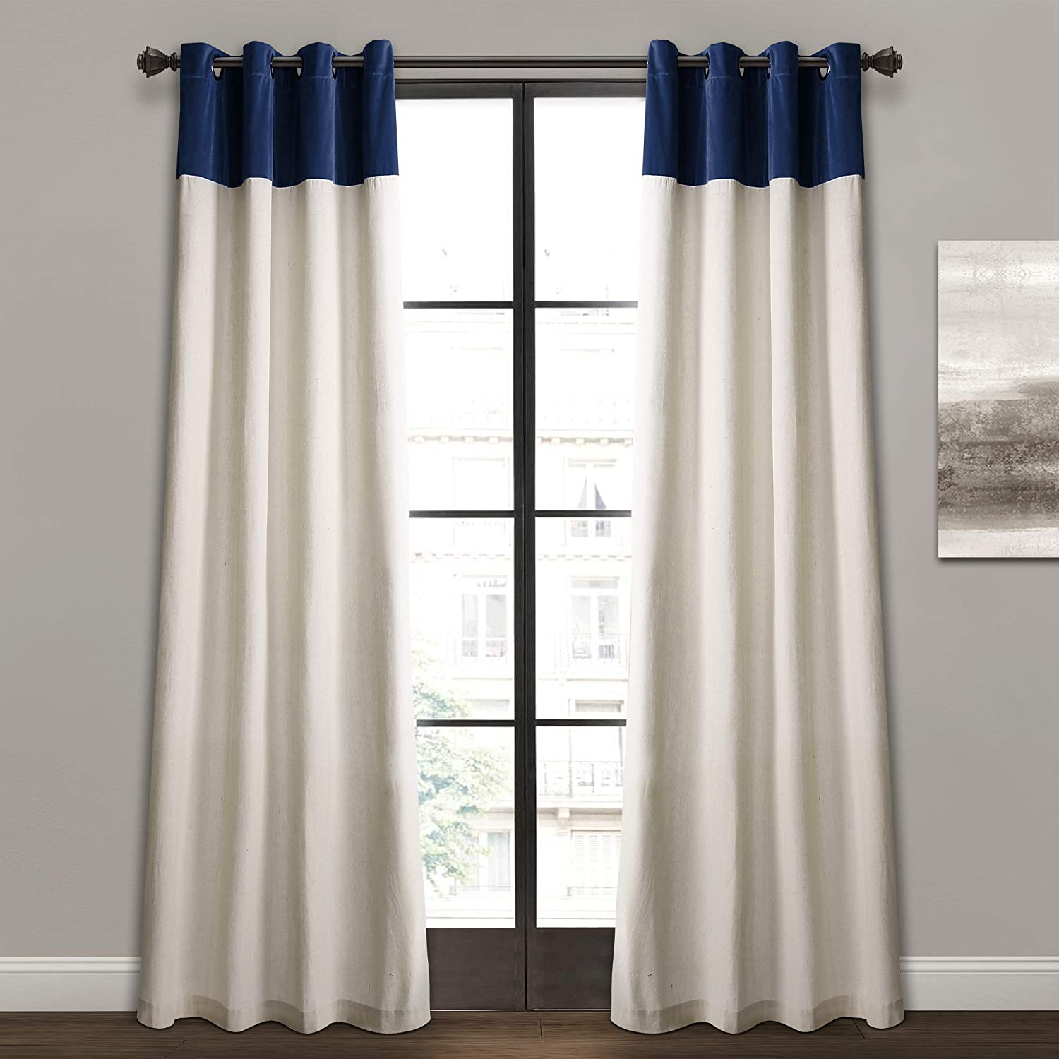 "Lush Decor Milo Linen Window Curtain Panel Pair, 84"" x 52"", Navy & Off-White, Navy"