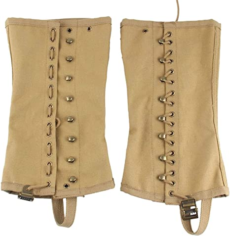 Steampunk Boots and Shoes for Men SMONT WW2 US. M1936 Boot Gaiters Leggings Repro WWII Soldier Canvas Puttee for Hiking Climbing Khaki/3R  AT vintagedancer.com
