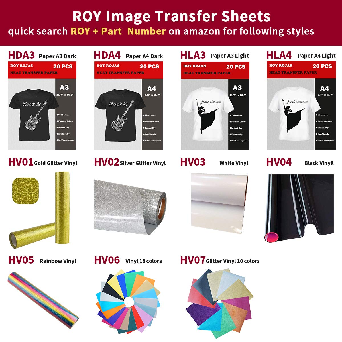 Roy Iron On Transfer Paper 50 Sheets for Dark Color T-Shirt, 17'' x 12'' A3 Heat Transfer Paper for Dark Cotton Fabric T Shirts, Compatible with All Inkjet Printers