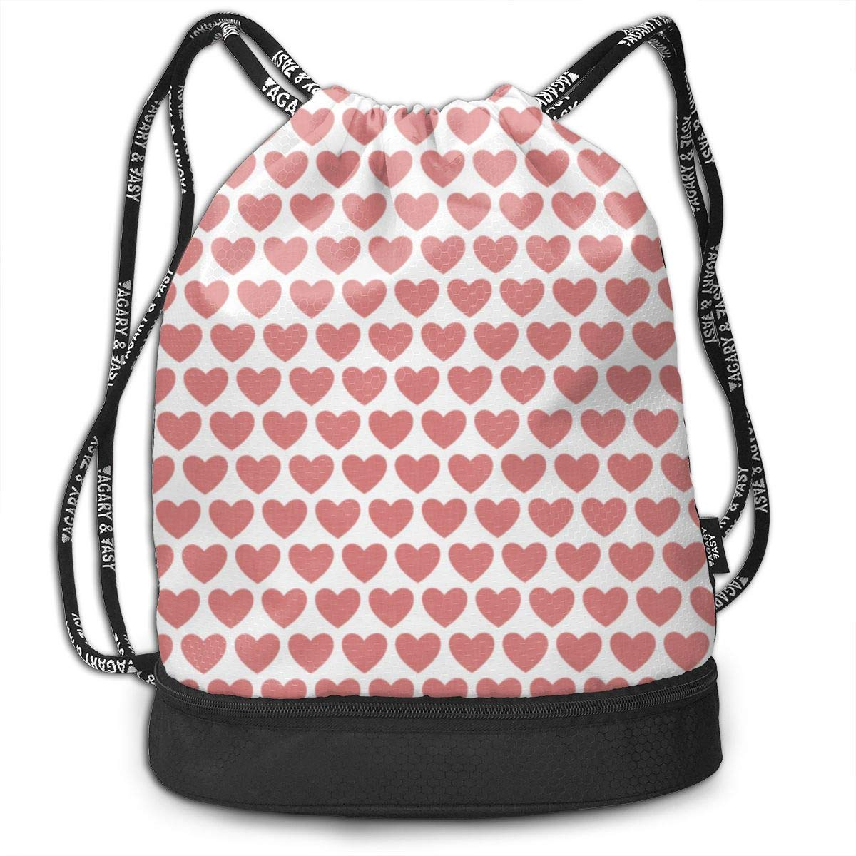 Linen Hearts Red On White Drawstring Backpack Sports Athletic Gym Cinch Sack String Storage Bags for Hiking Travel Beach