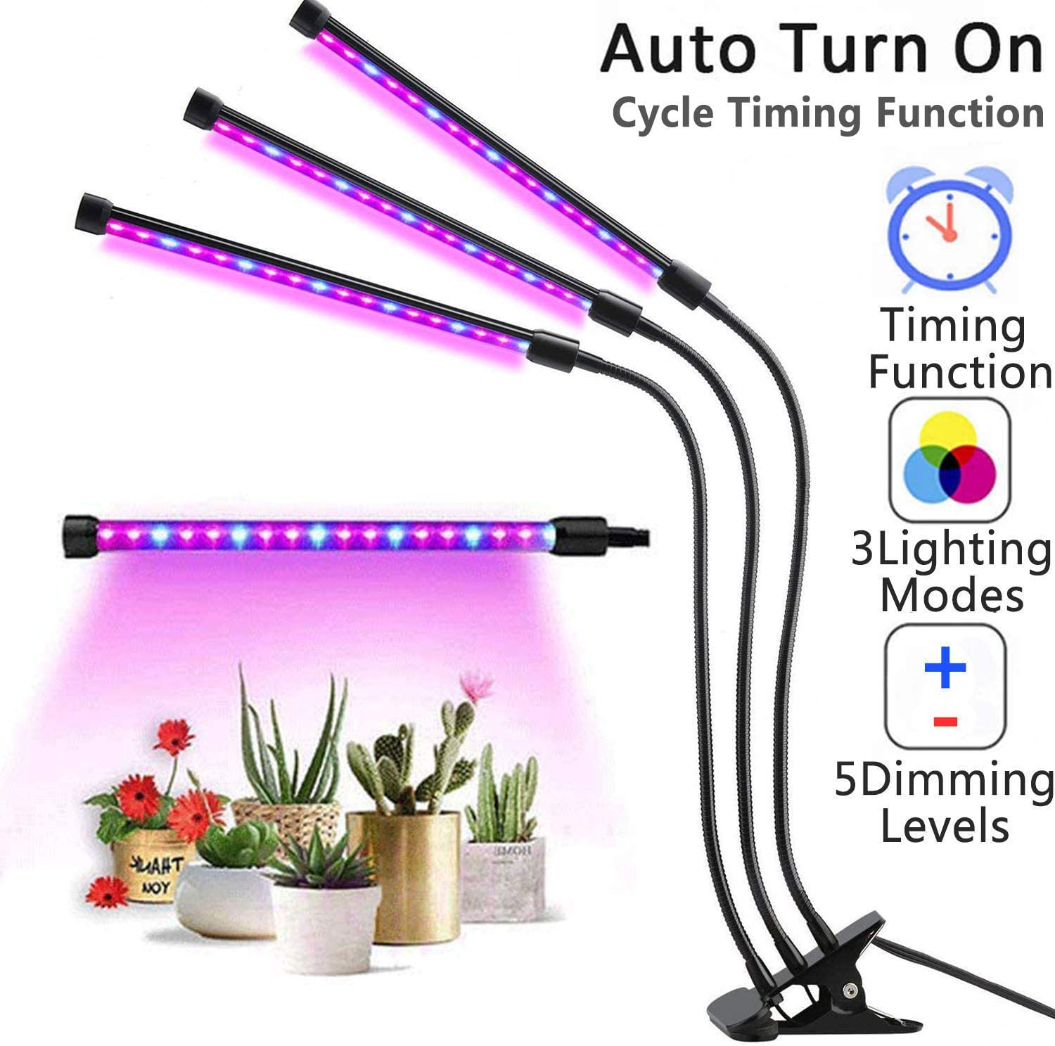Triple Head Adjustable Grow Lamp Led Grow Lights for Indoor Plants Upgraded LED Grow Light Auto On /& Off with 3//6//12H Timer 5 Dimmable Levels and 3 Lighting Modes Plant Lights for Indoor Plants